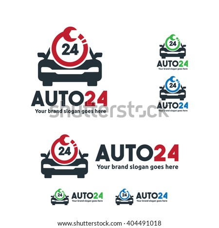 Car Service Logo, Car fix with Wrench and 24 hour symbol - stock vector
