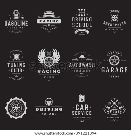 Car Service Logos Templates Set. Vector object and Icons for Garage Labels, Car Badges, Repairs Logos Design, Emblems Graphics. Whel Silhouettes, Piston Symbols. - stock vector