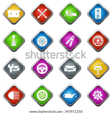 Car service maintenance glossy web icon set