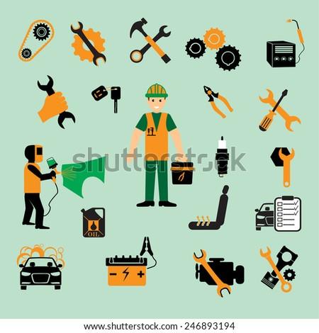 Car service maintenance icon. car part set of repair icon vector illustration. - stock vector