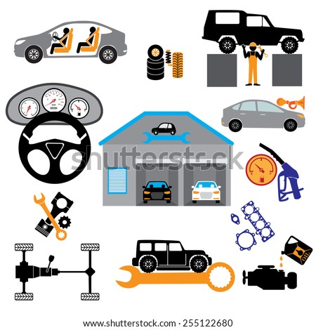 Car service maintenance icon .  Car part set of repair icon vector illustration. - stock vector