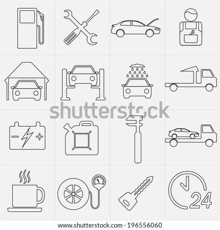 Car service maintenance icon set. Vector illustration.