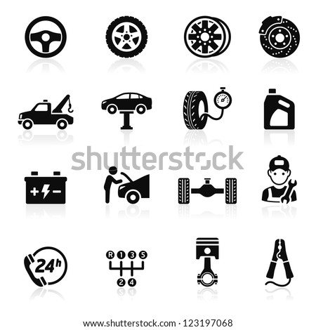 Car service maintenance icon set1. Vector illustration. More icons in my portfolio. - stock vector
