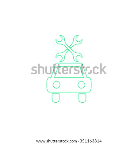 Car service Outline vector icon on white. Line symbol pictogram  - stock vector
