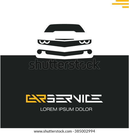 car service poster design template, sports car front icon - stock vector