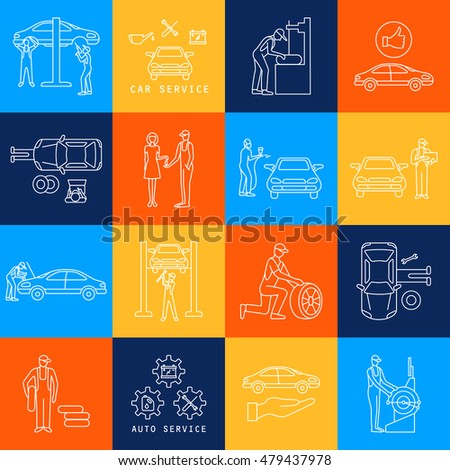 Car service, repair and  maintenance linear icons set, vector illustration.