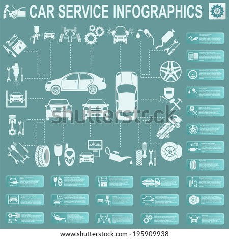Car service, repair Infographics. Vector illustration - stock vector