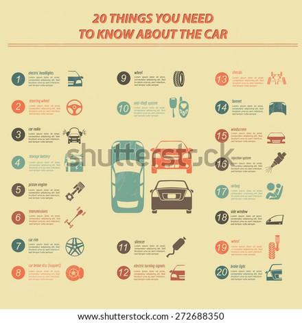 Car service, repair Infographics. Vector illustration - stock vector