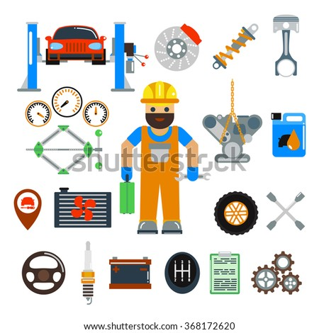 Car service repair vector icons set. Car repair vector sign illustration. Car service vector icons isolated on white background. Modern flat style car service icons. Vector silhouette of car service - stock vector
