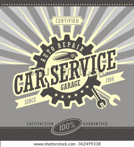 Car service retro banner design concept. Vintage garage poster with car and auto parts. Car side view symbol layout. Commercial ad template for transportation business. Design elements. - stock vector