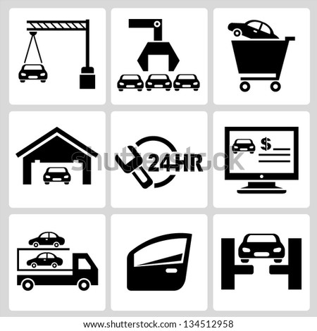 car service set - stock vector
