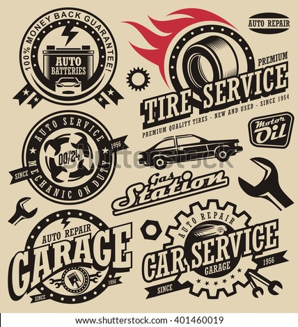 Retro garage logo images galleries for Garage auto discount montpellier