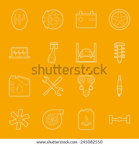 Car service thin lines icons set graphic illustration design - stock vector