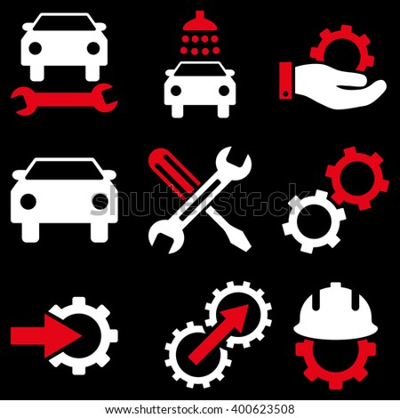 Car Service vector icon set. Style is bicolor red and white flat symbols isolated on a black background.