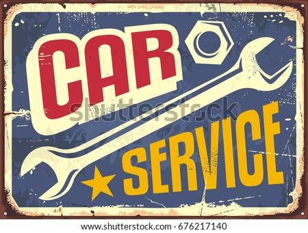 Car Service Vintage Sign With Wrench Tool And Creative Letterhead Transport Garage Theme