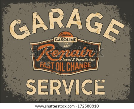 Car service vintage signboard - Vector artwork in custom colors, grunge effect in separate layer - stock vector