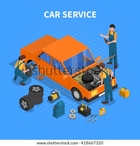 Car service work process isometric with workers repairing and testing the car and different tools around vector illustration - stock vector