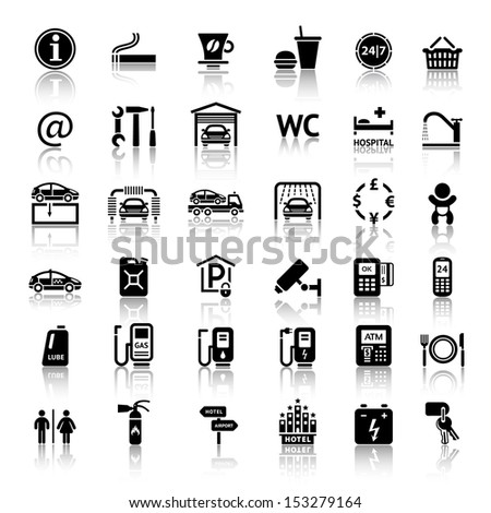 Car services and Repair 36 icons. Vector illustrations, silhouettes isolated on white background - stock vector
