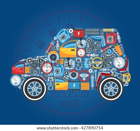 Car Shape Concept Background. Vector Illustration - stock vector