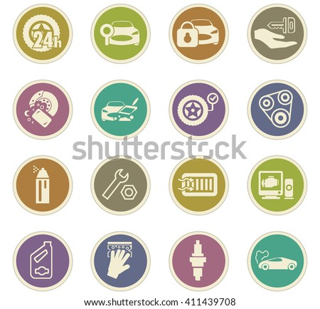 Car shop icon set for web sites and user interface - stock vector
