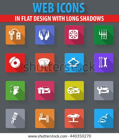 Car shop web icons in flat design with long shadows - stock vector