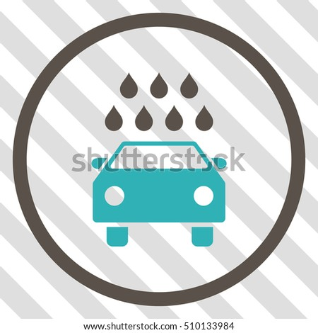 Car Shower vector icon. Image style is a flat grey and cyan icon symbol on a hatched diagonal transparent background.