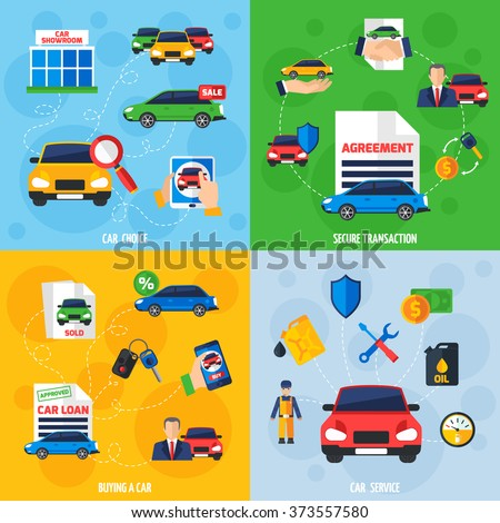 Car showroom with vehicles for sale and safe payment options 4 flat icons square composition banner vector illustration  - stock vector
