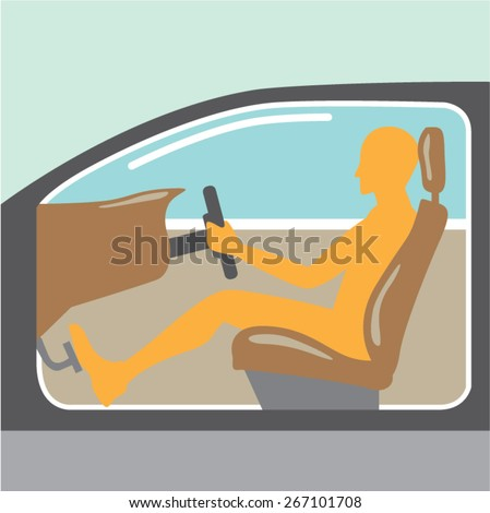 Car side view Person no airbag - stock vector