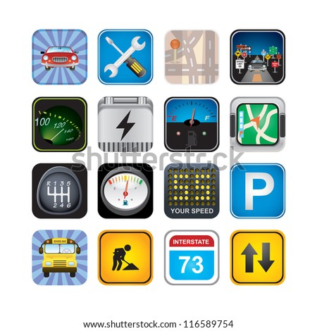 car  signs and icons - stock vector