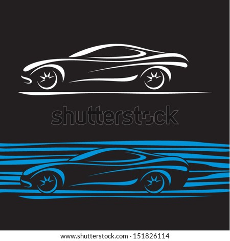 Car Silhouette. Car contour. Sports Car background. - stock vector