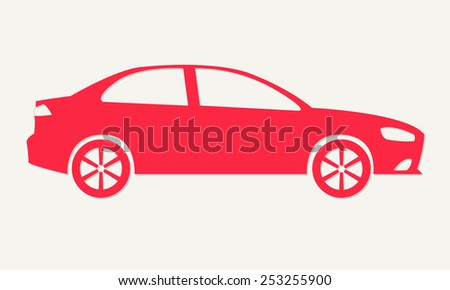 Car silhouette. Red sedan icon isolated on white background. Vector illustration. - stock vector