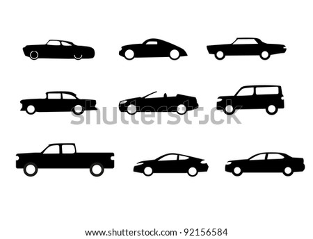 Car silhouettes isolated on white