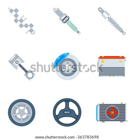 Car spare parts flat icons. Tool and repair, design motor and wheel illustration vector - stock vector