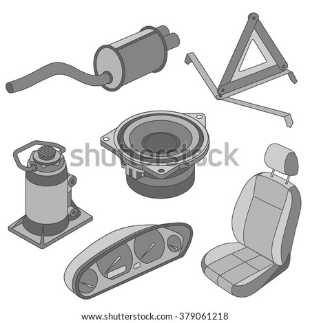 Car spare parts outline seat, sound, triangle, jack, exhaust, dashboard isometric  - stock vector