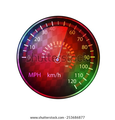 car speedometer colorful background vector
