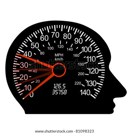 car speedometer in the human brain - stock vector