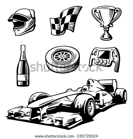 Car sport set symbols - racing sport car front view, cup, helmet, finish flag, wheel, champagne, rudder. Black and white vintage vector illustration for label, poster, web, icon. - stock vector