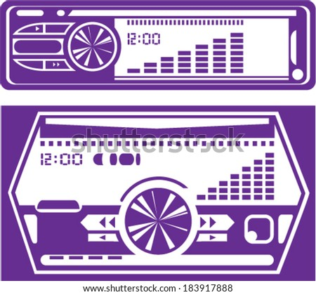 Car stereo system vector - stock vector