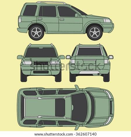 Car SUV line draw insurance, rent damage,  blueprint - stock vector