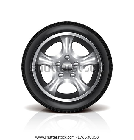 Car tire isolated on white photo-realistic vector illustration - stock vector