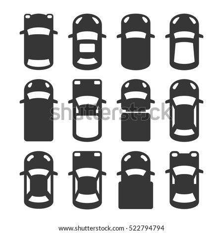 Car Top View Icons Set. Vector