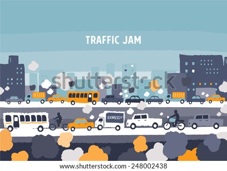 Car traffic jam - freehand drawing vector Illustration - stock vector
