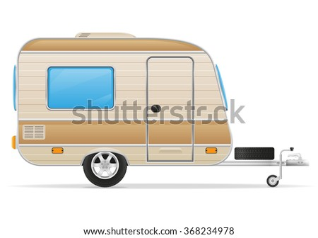 car trailer caravan mobil home vector illustration isolated on white background - stock vector