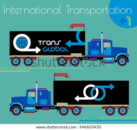 Car trailer truck icon or design element in side view, isolated. ?argo transportation, illustration, icons. Large freight icon. Cargo Delivery van vector silhouette. Delivery of international cargo. - stock vector