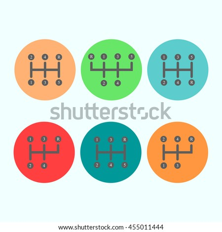 Car transmission icon on the white background. Vector illustration - stock vector