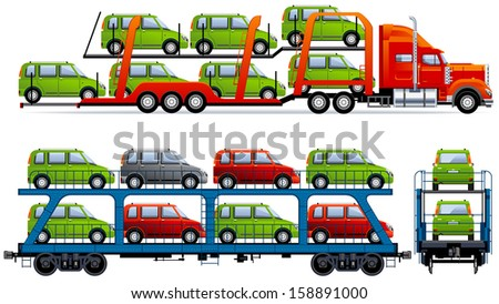 Car Transporter. Set of the car and train icons in vector. Pixel optimized. Elements are in the separate layers. In the side and back views.  - stock vector