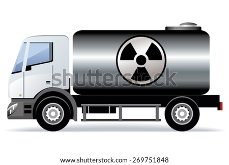 Car transports radioactive substances - stock vector