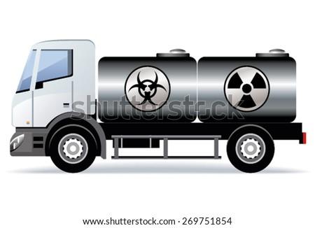 Car transports toxic substances - stock vector