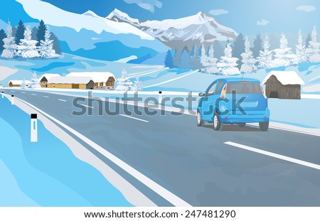 Car travel in Alps at winter season. EPS 10 format. - stock vector