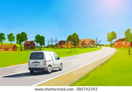 Car travels the countryside during summer season